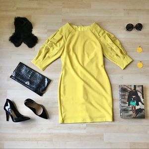 NWT INA dress embroidered pleated sleeves yellow S